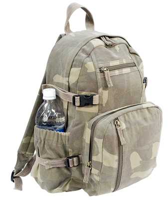 VINTAGE CANVAS MINI BACKPACK - WOODLAND CAMO