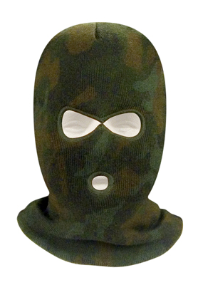 DELUXE WOODLAND CAMOUFLAGE THREE-HOLE FACE MASK