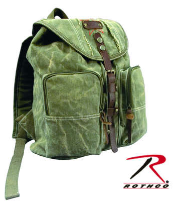 STONE WASHED CANVAS BACKPACK - OLIVE DRAB WITH LEATHER AC