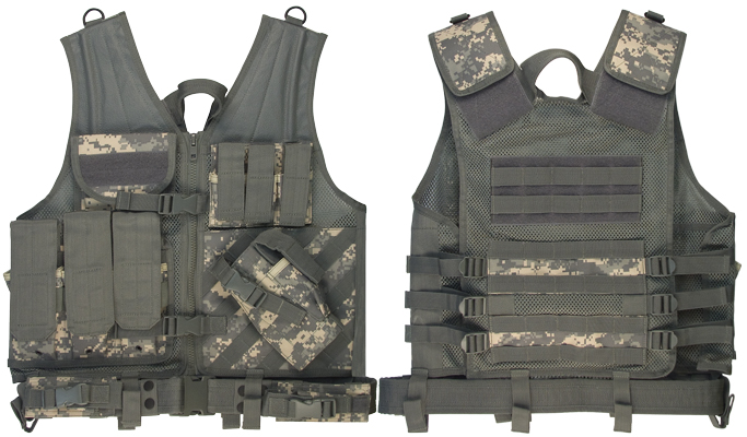 ARMY A.C.U. DIGITAL CAMO M.O.L.L.E. CROSS DRAW TACTICAL VEST